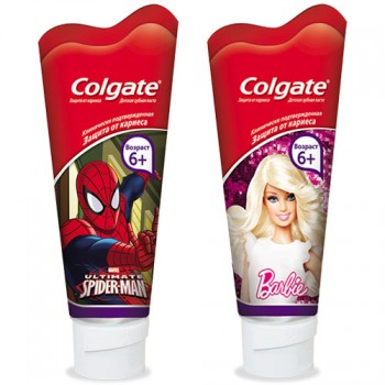 з/п дет Colgate Spiderman/Barbie  от 6 лет 75мл/12